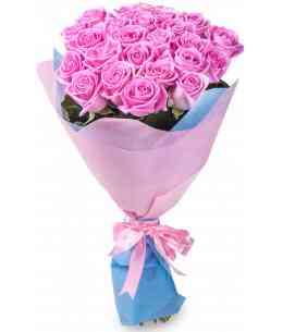 Bouquet of 21 pink roses 80-90cm