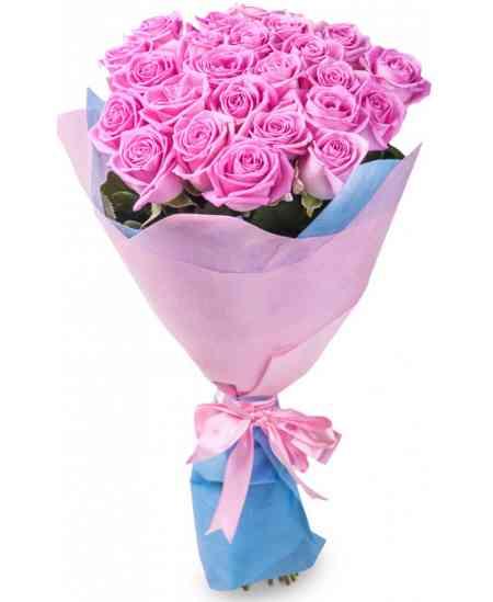 Buchet din 21 trandafiri roz 80-90cm