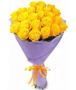 Buchet din 21 trandafiri galbeni 80-90cm