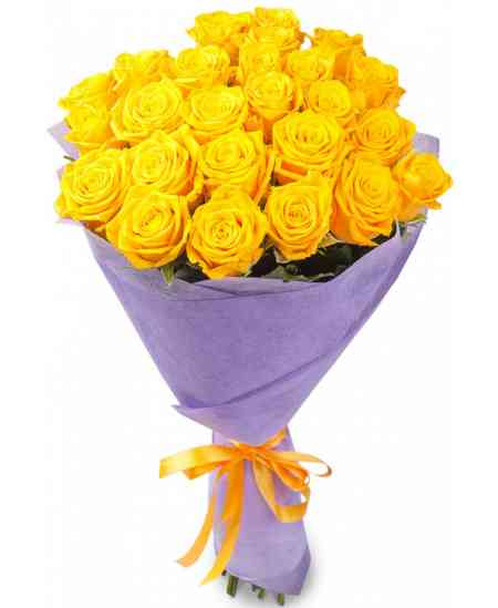 Букет из 21 желтых роз 80-90см