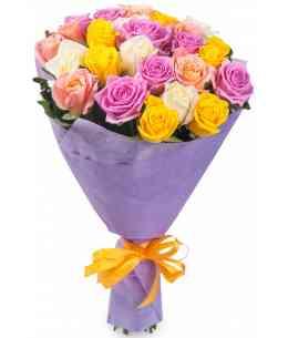 Buchet din 21 trandafiri multicolor 80-90cm
