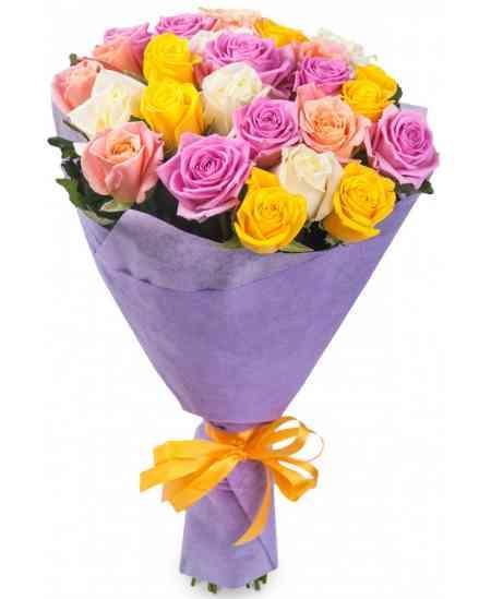Букет из 21 многоцветных роз 80-90см