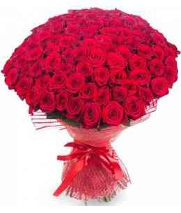 """101 красных роз """"Нидерланды"""" 80-90см"""