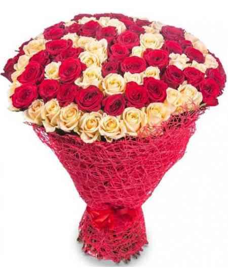 """101 белых и красных роз """"Нидерланды"""" 80-90см"""