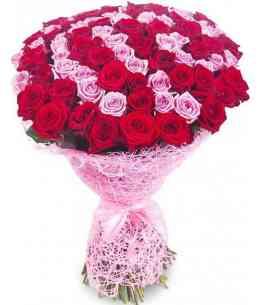 """101 розовых и красных роз """"Нидерланды"""" 80-90см"""