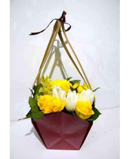 """Корзина цветов """"Желтая весна"""""""