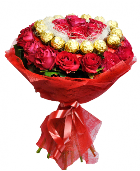 bouquet of 31 roses and ferrero rocher flowerscity. Black Bedroom Furniture Sets. Home Design Ideas