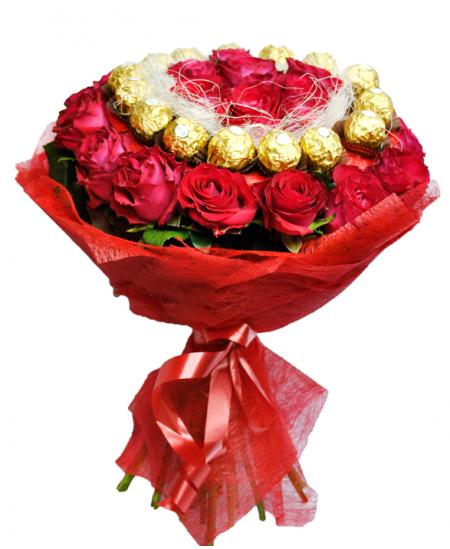 Букет из 31 роз и Ферреро Роше