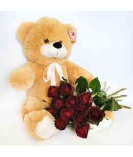 Медведь 60см с 11 розами