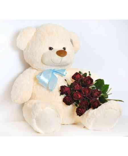 Medium bear 60cm with 11 roses