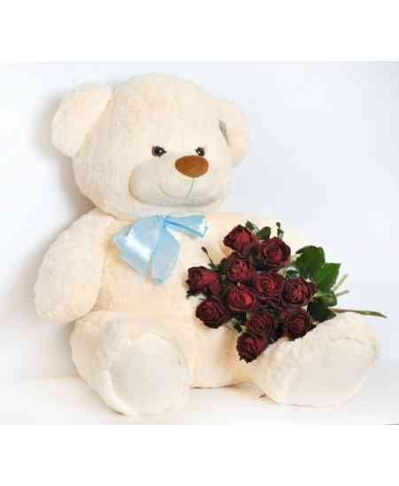 Urs mediu 60cm cu 11 trandafiri