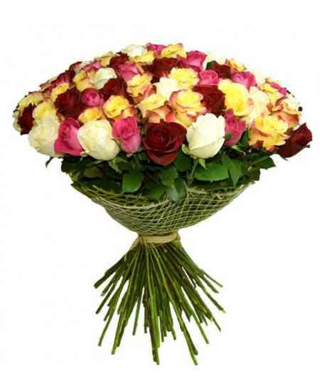 """101 разноцветных роз """"Нидерланды"""" 80-90см"""