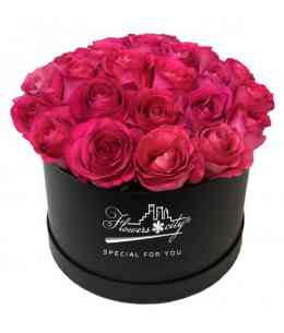 Box of 27 pink roses