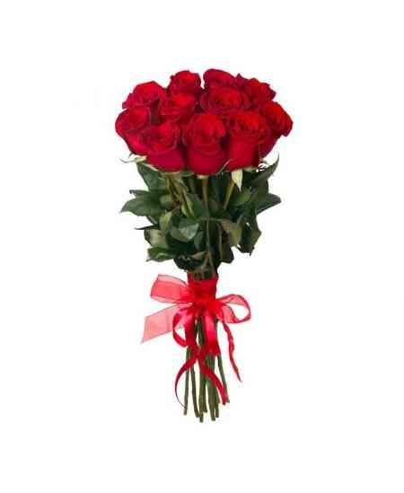 Buchet din 11 trandafiri roșii 50-60cm