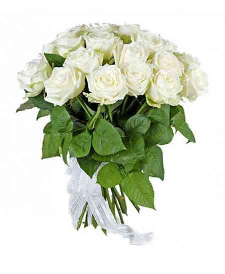 """Букет из 21 белых роз """"Нидерланды"""" 40-50см"""