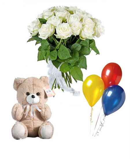 Set of 21 white roses + Teddy + balloons
