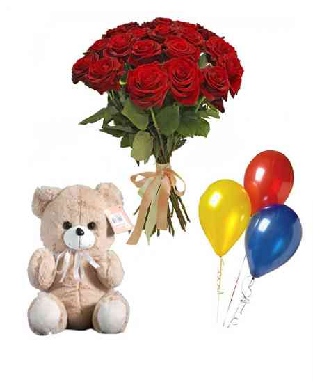 Set din 21 trandafiri roșii + Ursuleț + baloane