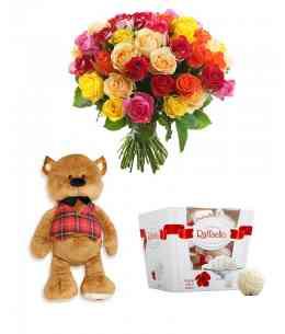 Set din 35 trandafiri multicolor + Ursuleț + Raffaello