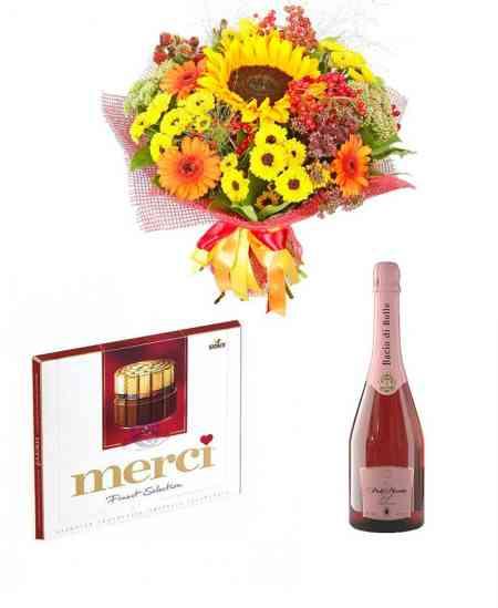 """Set din Buchet """"For the lovely one"""" + Ciocolată """"merci"""" + Șampanie"""