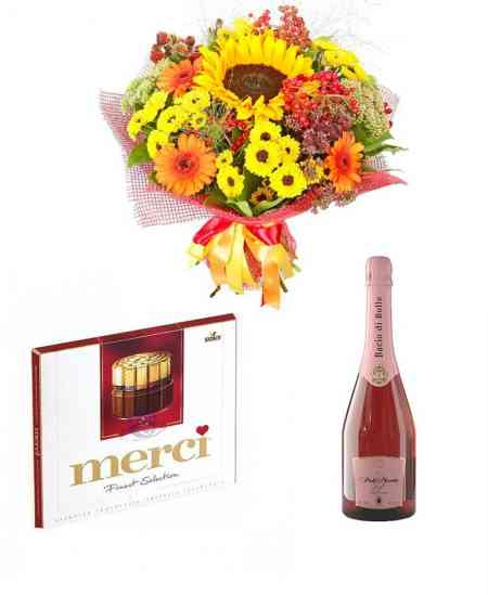 "Set of Bouquet ""For the lovely one"" + Chocolate ""merci"" + Champagne"