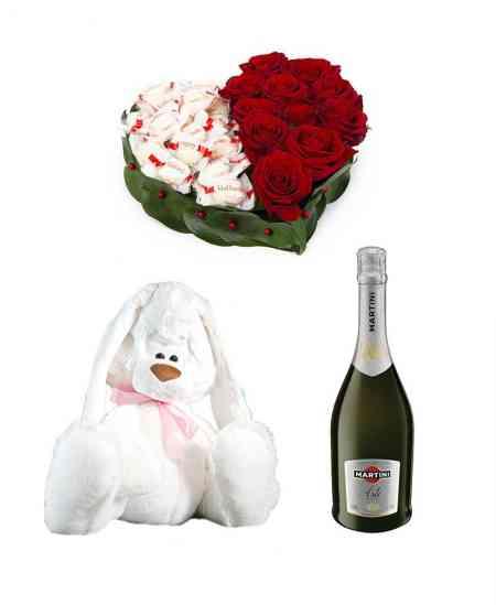 """Set din Inimă din flori """"Două jumătăți"""" + Iepuraș + Şampanie """"Asti Martini"""""""