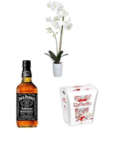 Набор из белой орхидеи + Raffaello + Виски ''Jack Daniels''