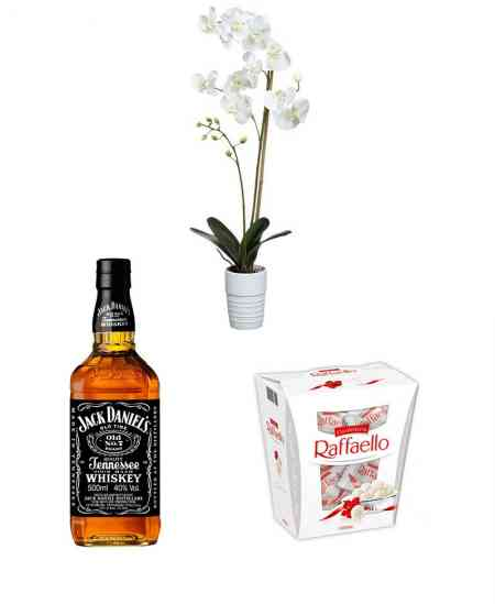 "Set of White Orchid + Raffaello + Whiskey ""Jack Daniels"""