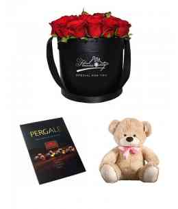 Cutie din 27 trandafirii + Ursuleț + Ciocolată ''Pergale''