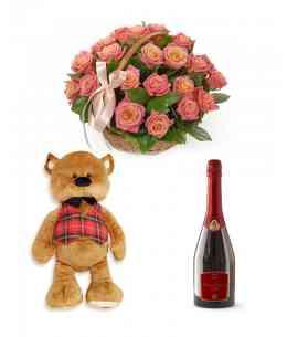 "Composition ""Chance"" + Big brown bear + Champagne ""Bacio di Bolle"""