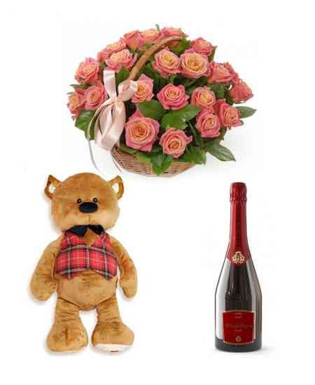 "Composition ""Chance"" + Big brown bear + Champagne ""Bacio di Bolle"""