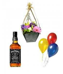 "Basket of flowers ""I Miss ..."" + Set of 3 Balls + Whiskey ""Jack Daniels"""