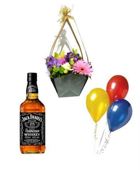 "Coș din flori ""I Miss ..."" + Set din 3 baloane + Whiskey ""Jack Daniels"""