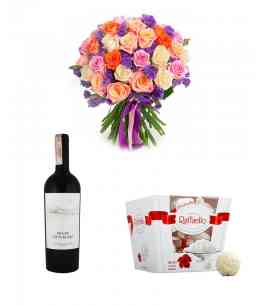 "Bouquet ""Improvisation"" + Raffaello + Red wine ""Purcari"""