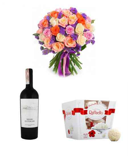 "Bouquet ""Improvisation"" + Raffaello + Red wine ""Purcari"""