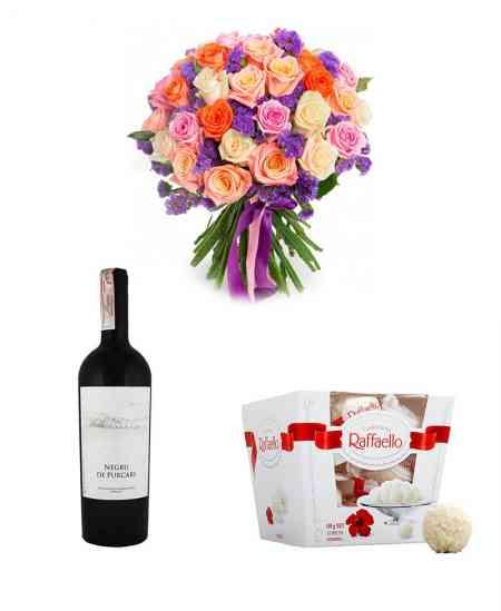 """Букет """"Импровизация"""" + Raffaello + Красное вино """"Purcari"""""""