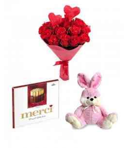 """Букет """"Любовь двух сердец"""" + Шоколад """"merci"""" + Розовый кролик"""