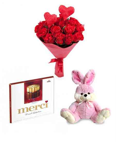 """Bouquet """"Two hearts love"""" + Chocolate """"merci"""" + Pink rabbit"""