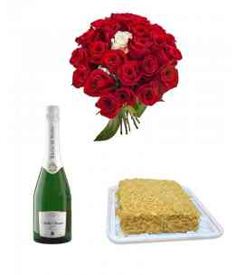 "Bouquet of 25 roses + Сake Napoleon + Champagne ""Bacio di Bolle"""
