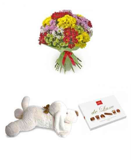 "Bouquet ""Bright colors"" + Dog pillow + Chocolate ""Korona de Luxe"""