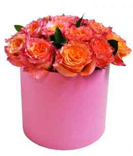 Pink box of пинк-orange roses