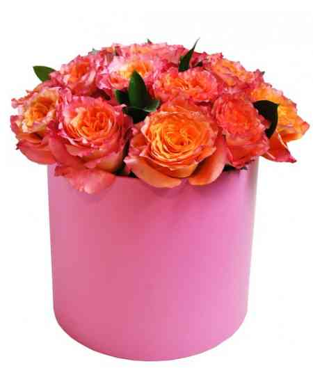 Cutie roz din trandafiri roz-orange